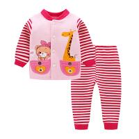 0女宝宝2男童5婴4保暖6内衣服1套装7春秋装8夹棉3岁12个月9 墨绿色 X3012红长颈鹿