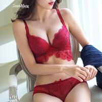 秋冬无钢圈性感蕾丝小胸文胸蕾丝聚拢红色本命年内衣套装