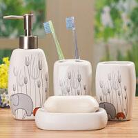 20191215130552376大象花纹卫浴四件套 浴室用品 洗漱套装 漱口杯牙刷架