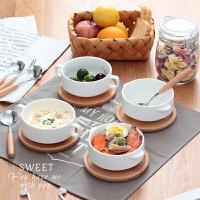 双耳汤碗炖盅甜品碗蒸蛋碗沙拉碗家用创意陶瓷西餐麦片早餐儿童碗