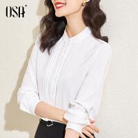 【2件3折到手价:149】OSA白色叠穿衬衫女春装2021年新款设计感小众OL职业衬衣上衣春秋
