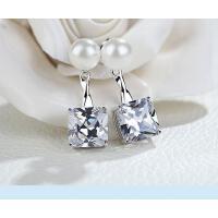 耳钉 珍珠 耳环 女 925银 锆石 气质简约日 韩国甜美个性耳钉耳饰防过敏