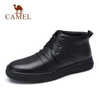camel骆驼男鞋秋冬新品商务加绒绒毛休闲牛皮靴防滑时尚工作通勤鞋