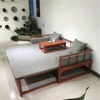 现代中式老榆木伸缩推拉罗汉床榻实木多功能沙发床双人床家具定制 +坐垫软包 +茶几 1.2米以下