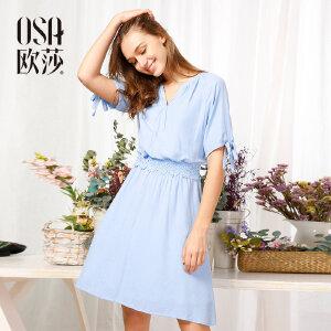 欧莎夏装女2017夏季新款女装V领时尚蕾丝拼接收腰连衣裙S117B13060