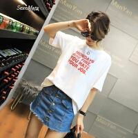 T恤女韩版2018夏装新款女装圆领字母短袖上衣女打底衫百搭潮款 白色 均码