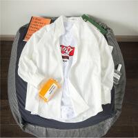 春装男士圆领长袖棉麻衬衫休闲纯色青年韩版百搭立领宽松衬衣外套