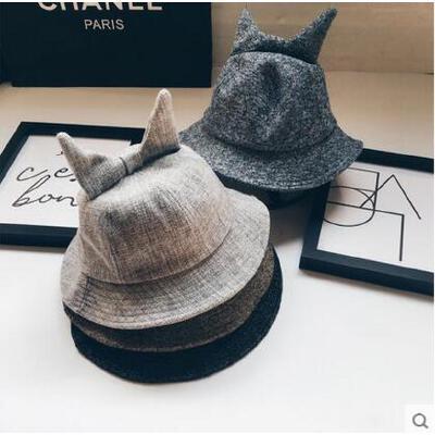 帽子 盆帽 遮阳帽 韩版可爱牛角混色纯色盆帽渔夫帽男女情侣户外休闲遮阳帽 品质保证 售后无忧  支持货到付款