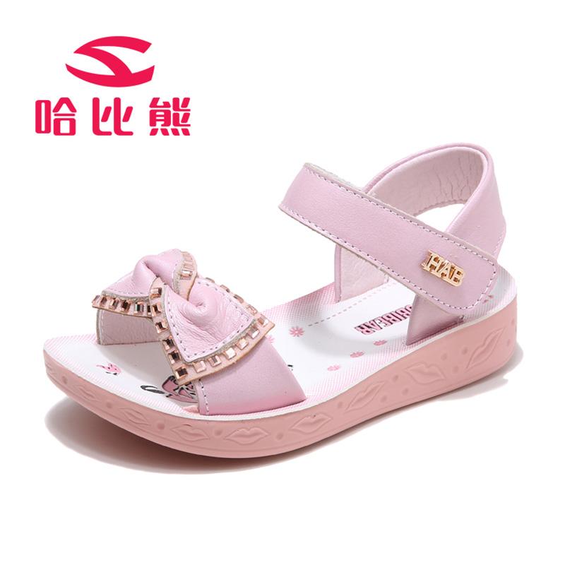 【每满100减50】哈比熊女童凉鞋夏季新款儿童公主鞋蝴蝶结女孩凉鞋韩版潮