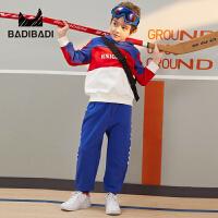【超品日3件2折:95】巴拉巴拉旗下 巴帝巴帝男童套装19春新款撞色拼接运动服中大童