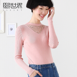 熙世界秋冬新品纯色圆领套头长袖修身假两件毛衣女装194LA268