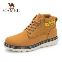 camel骆驼男靴秋季新款休闲高帮大头工装靴鞋子男厚底真皮潮流短靴