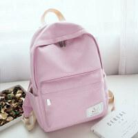 帆布双肩包女孩韩版校园简约休闲旅行背包纯色初中生小学生书包