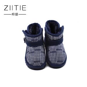 梓缇童鞋 棉鞋 儿童雪地靴 真皮反毛皮舒适休闲鞋 小童男童女童靴子