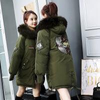 反季女中长款韩版加厚大毛领冬季宽松外套羽绒棉袄女2018新款