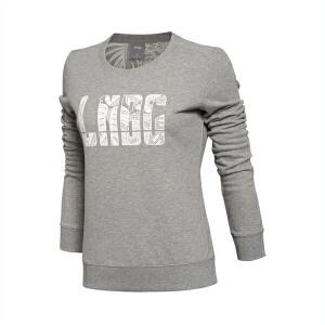 李宁卫衣女士羽毛球系列春秋套头衫长袖圆领针织运动服AWDL322