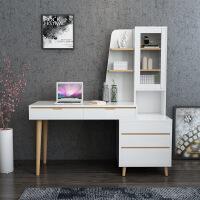 书房书桌台式电脑桌家用卧室北欧实木套装家具书柜书架一体