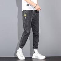 男士牛仔裤夏季薄款2021新款韩版潮流束脚九分裤时尚休闲百搭