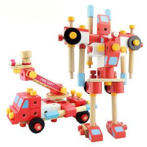【当当自营】木玩世家 100PCS 消防组合 螺母拼装组装拆装儿童益智木制男孩玩具 MMBL13005