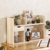 实木小书架简易书柜zakka家居书桌电脑桌桌面收纳柜储物飘窗架子 双层 原木色