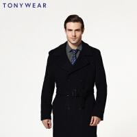 TONY WEAR/汤尼威尔男士商务休闲羊毛大衣长袖双排扣大衣