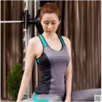 韩系瑜伽服上衣紧身背心带胸垫运动内衣女跑步健身跳操交