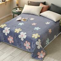 毯子床单加厚 冬季法兰绒毛毯床单人小毯子学生宿舍铺床加厚保暖法莱珊瑚绒被子 120cmx200cm 约1.4斤(可盖可