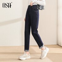 OSA欧莎2021年秋季新款修身弹力显瘦老爹裤高腰直筒牛仔裤女