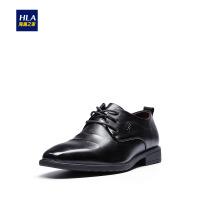 HLA/海澜之家舒适正装皮鞋2019春季新品圆头系带绅士鞋子男
