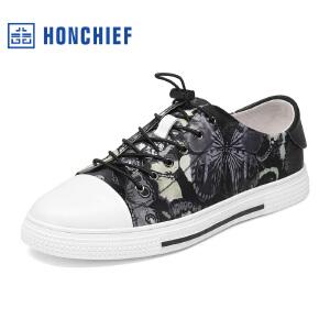 HONCHIEF 红蜻蜓旗下 春秋新款真皮潮流印花男单鞋休闲舒适男鞋子