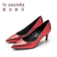 莱尔斯丹 春季新款细跟尖头红色高跟婚鞋女鞋 9T66105