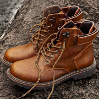 波图蕾斯皮靴男秋季新品男士休闲马丁靴低帮百搭短靴复古时尚工装鞋潮 CF12689