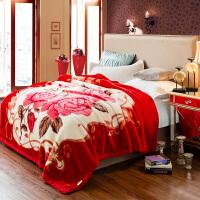 冬季双层加厚拉舍尔毛毯法兰绒保暖被子双人珊瑚绒毯子单人小盖毯大红婚庆毛毯