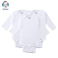 美国直邮 Gerber嘉宝婴儿连体包屁衣3件套长袖 白色 包邮包税
