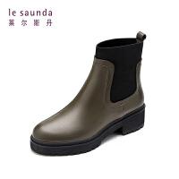 莱尔斯丹 秋冬欧美休闲方跟拼色切尔西靴女短靴8T49004P