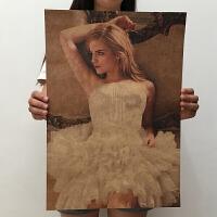 艾玛沃特森赫敏海报美女海报复古怀旧海报宿舍寝室装饰画墙贴 51*35.5cm