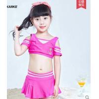 新款俏皮可爱儿童游泳衣女童泳装比基尼套装分体小中大童泳裤