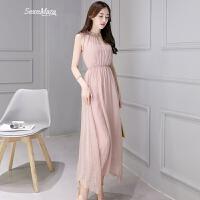 夏天雪纺无袖连衣裙女夏季新款韩版时尚显瘦裙子波西米亚长裙 粉色