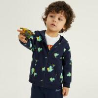 【1件5折价:119.5】安奈儿童装男童外套春秋装上衣2021春新款恐龙印花男小童宝宝夹克