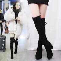 保暖加绒过膝长靴长筒靴弹力靴高筒靴高跟女靴2018秋冬季新款