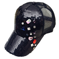 春夏天女手工彩色水钻棒球帽亮片帽鸭舌帽遮阳透气网帽嘻哈帽子