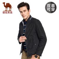 骆驼男装 秋季两面穿外套 男士立领修身商务休闲夹克衫外套男潮