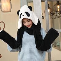 季学生女帽子围巾手套三件套围脖一体可爱加厚套装子韩版 熊猫黑色(现货立发)