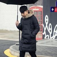 冬装英伦风男士长款棉衣男装毛毛领保暖棉衣韩版修身纯色外套