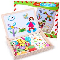 儿童磁性画板支架式写字板小黑板七巧板幼儿宝宝画架益智套装