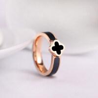 韩版时尚气质幸运四叶草戒指环情侣对戒情侣饰品钛钢镀玫瑰金