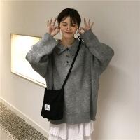 韩范秋新款宽松慵懒风大袖子POLO领套头纯色针织衫毛衣上衣女 均码