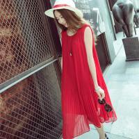 孕妇连衣裙春夏装中长款宽松无袖大码上衣红色背心裙雪纺打底裙子