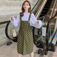 背带裙 女士高腰网红波点背带裙2020年秋季新款韩版时尚洋气女式宽松休闲女装吊带裙
