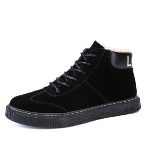 秋季高帮鞋男韩版加绒保暖棉鞋英伦休闲鞋潮鞋冬季鞋子男高邦板鞋